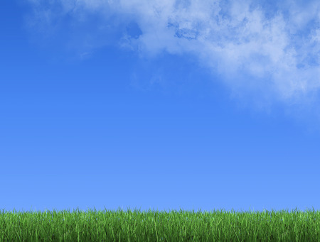 Grass meadow and a blue sky with clouds, 3d render 写真素材