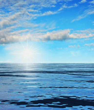 Ilustration of a rising shining sun across the ocean, 3d render