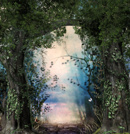 Stonepath through a magical lush forest flanked by ivy covered trees, 3d render Imagens