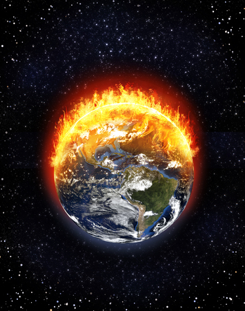 Burning Earth globe North and South America, starfield background, climate change concept, 3d render