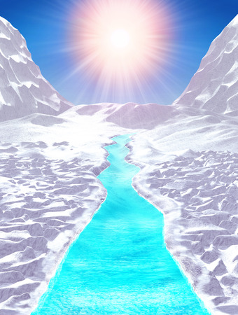 Global warming, Glaciers and Arctic ice shield melting, caused by high temperature and heating effect of climate change, concept, 3d render