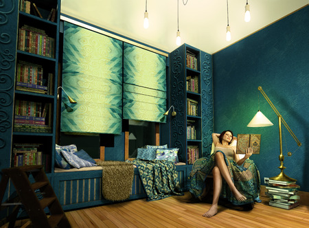 Beautiful woman finds time to read books in a Bohemian style blue study, 3d render 版權商用圖片