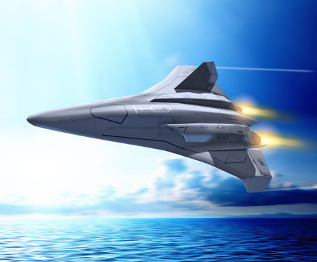 Concept of a futuristic unmanned combat aerial fighter vehicle, ucav, in operation by the US navy, flying at full speed over the ocean, 3d render