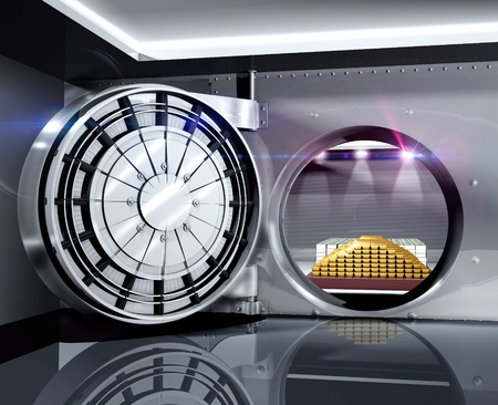 Smart banking - secure bank vault to store gold bars and piles of cash money, 3d render 版權商用圖片