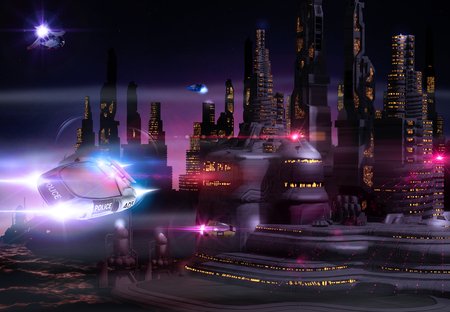 Beautiful view of a futuristic cityscape skyline at night with sky taxis and a flying police car, 3d render