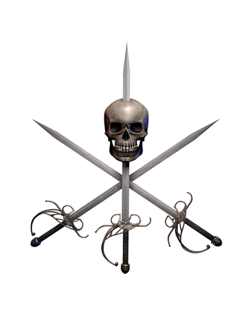 Pirate swept hilt swords cross with a human skull isolated on white, adventure and danger on the high seas, 3d render