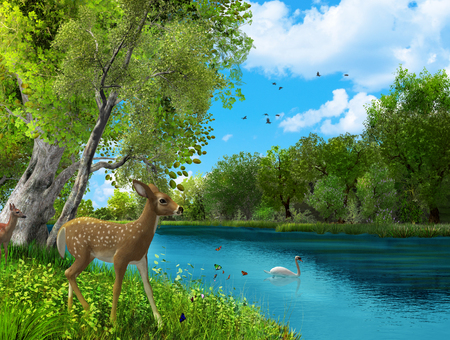 Beautiful untouched animal nature paradies, peaceful, Garden of Eden, 3d render