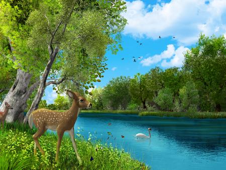 Schönes unberührtes Tiernaturparadies, friedlich, Garten Eden, 3D-Rendering