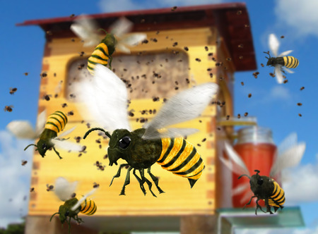 A buzzing bee hive colony, close-up of bees, 3d render 版權商用圖片