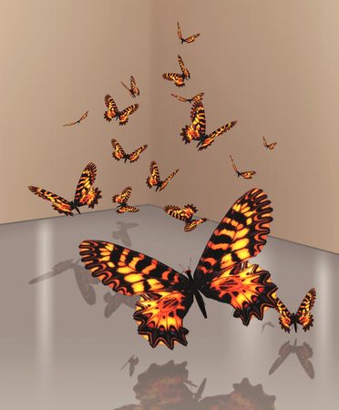 A flutter of orange butterflies, reflected on the ground, 3d render