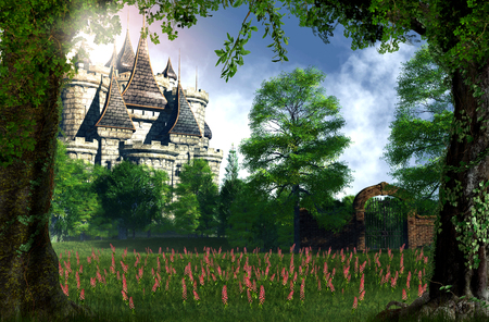 A beautiful , romantic view of a fairy tale castle from the woods, 3d render 版權商用圖片