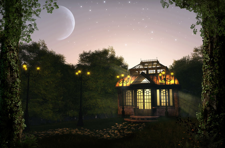 Beautiful, romantic illuminated pavilion at night in a lush park, 3d render