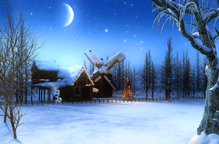 Beautiful romantic snowcovered winter Christmas landscape with a starry night, 3d render painting