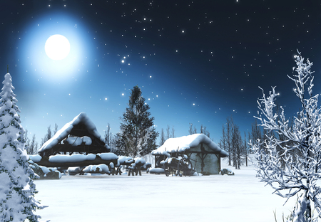 Beautiful romantic snowcovered winter Christmas landscape with a starry night and a full moon, 3d render painting 版權商用圖片