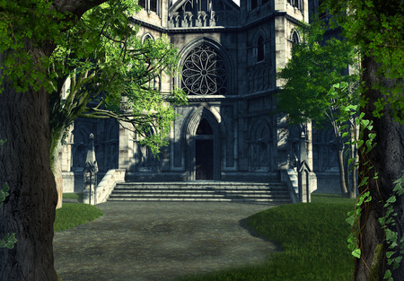 Gothic entrance to a medieval cathedral, 3d render