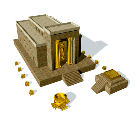 Old Testament, the Temple of Solomon was the first holy temple of the ancient Israelites, located in Jerusalem and built by King Solomon, 3d render isolated on white background 版權商用圖片