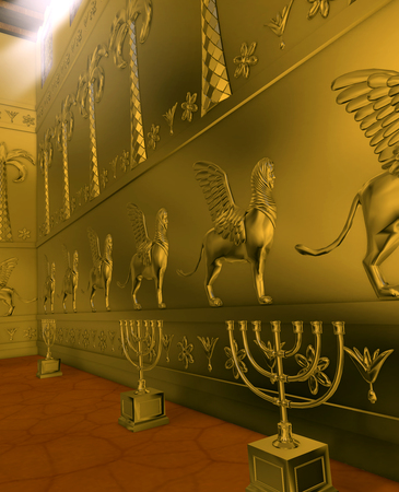 Old Testament, the interior of the Temple of Solomon, was the first holy temple of the ancient Israelites, located in Jerusalem and built by King Solomon, 3d render