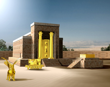 From the Old Testament, the Jewish Temple of Solomon was the first holy temple of the ancient Israelites, located in Jerusalem and built by King Solomon, 3d render Imagens - 122310357
