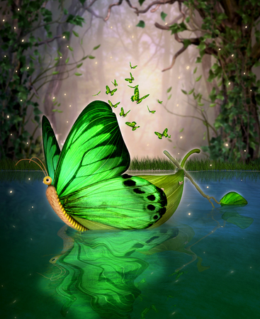 A magical fairy wildwood water craft boat in a butterfly shape,  floating through a hidden lake, 3d render