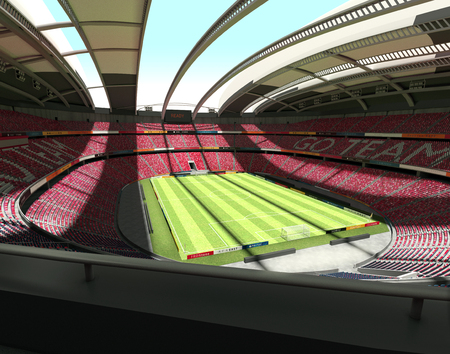 Panorama view of an empty, large 40.000 seats capacity, soccer stadium layered in 3 levels, on a beautiful sunny day, 3d render