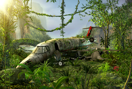 Airplane crashed in a lush jungle, wreck, crash site, 3d render