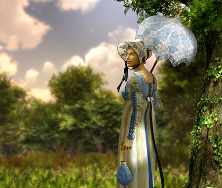 Pretty   style young woman goes for a walk in a park, Regency dress, 3d render painting