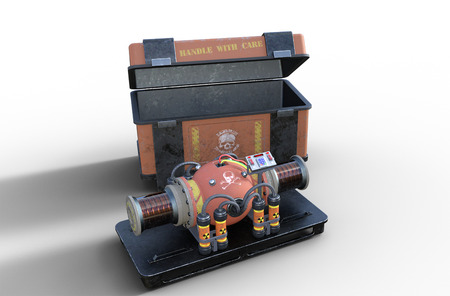 A dirty nuclear bomb, a terrorist doomsday device and it's holding crate, isolated on white background, 3d render 版權商用圖片