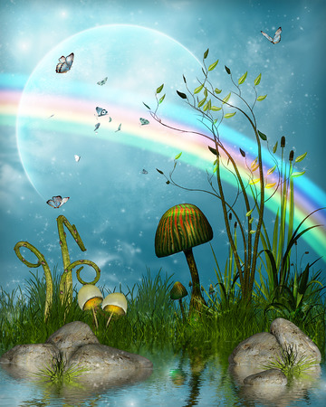 Magical fairytale landscape with a pond under a rainbow, 3d render illustration