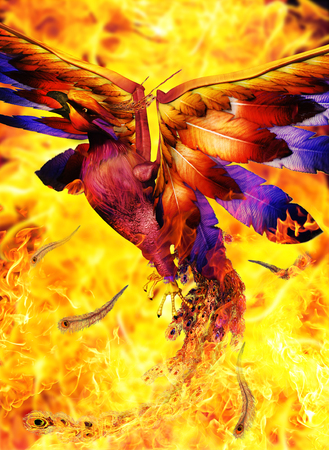 Legendary Phoenix bird rising out of a hell fire and is reborn