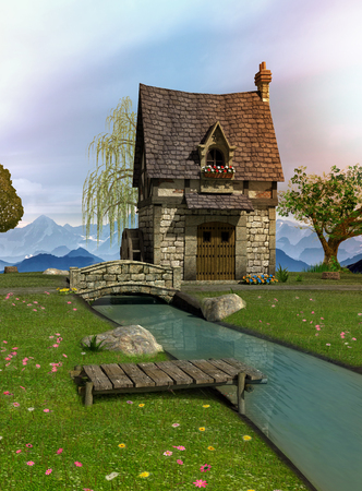 Fairytale water mill with its natural surroundings, 3d render illustration