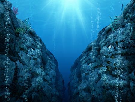 Vue depuis la fosse des Mariannes, les profondeurs les plus profondes du Pacifique occidental, illustration de rendu 3d Banque d'images