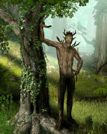 An ancient elemental spirit, the forest king, who dwells deep within the forest keeping all of nature in harmony, 3d render illustration