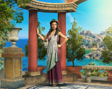 Beautiful Roman, Greek woman in a sunny mediterranean antiquity setting, 3d render illustration