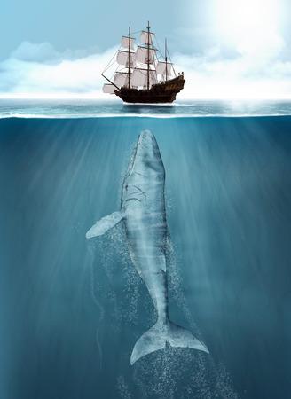 Ballena jorobada ataca un barco ballenero de caza desde las profundidades, pintura de render 3d Foto de archivo