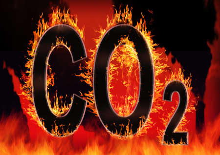 Global warming concept of CO2, carbon dioxide, letters on fire, 3d render