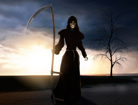 Death is coming, holding a scythe, 3d render painting 版權商用圖片