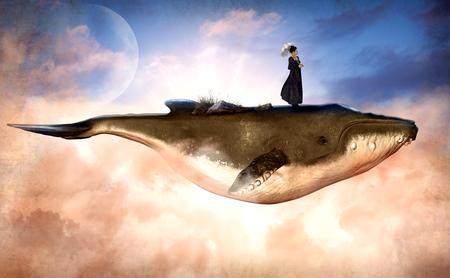 Surrealistische scène van een vliegende bultrug en een vrouw die bovenop staat, met een grundge-textuur, 3d render schilderij