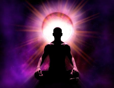 Pouvoir psychique universel de la méditation. La silhouette d'une personne qui est en méditation spirituelle devant un fond cosmique et une source lumineuse d'énergie, illustration de rendu 3d