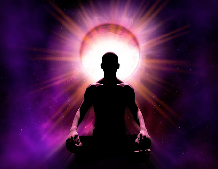 Universal psychic mind power of meditation. The silhouette of a person who is in spiritual meditation in front of a cosmic background and a bright source of energy, 3d render illustration