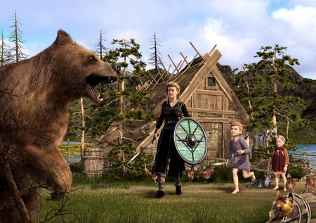 A brown bear attacks a Viking home, defended by a beautiful Viking woman and her children, 3d render painting 版權商用圖片