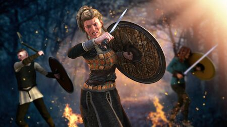 Viking warrior woman fighting with sword and shield in a dramatic battle, 3d render painting