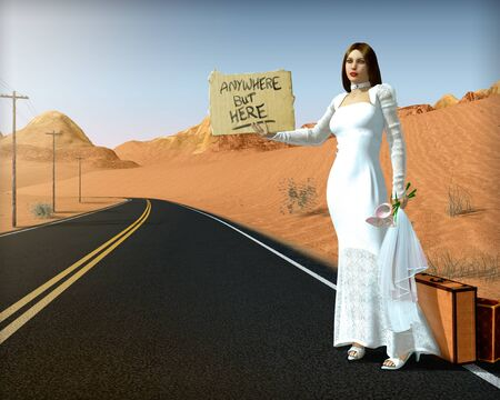 Abandoned, runaway bride standing on side of road holding a sign, hitchhiking, wearing a white wedding gown, 3d render