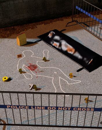 After the crime comes the investigation, crime scene with a authentic look, with body outline and body bag, 3d render