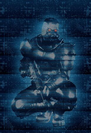 Concept of a soldier in a cyberspace war, holographic image style, 3d render,