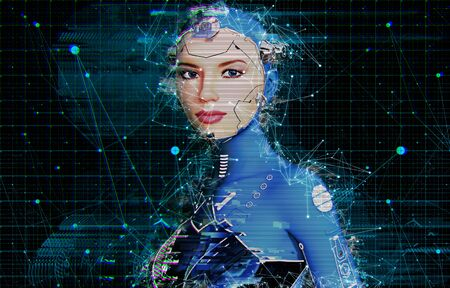Concept of neural networks in an artificial intelligence cyborg in female form, 3d render