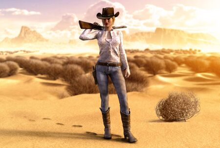 Beautiful cowgirl carrying a rifle over her shoulder in a hot, barren desert, 3d render