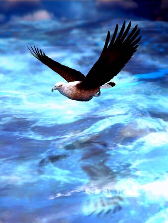 Fish Eagle soaring, flying majestically over stormy ocean waters, 3d render