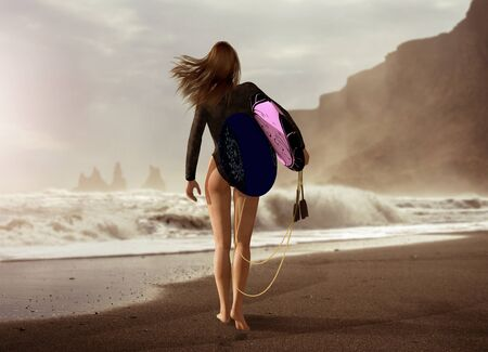 Attractive young woman in short wet suit with two surfboards walking out to the sea on a beach, photorealistic 3d render painting