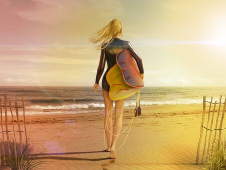 Attractive young woman in short wetsuit with surfboard walking out to the sea on a sunny beach, photorealistic 3d render painting Imagens