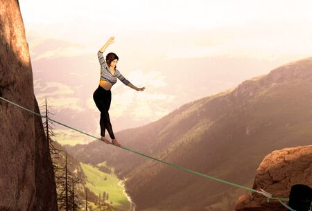 Attractive woman slacklining highlining,  walking on a rope in the high mountains, adventures  woman who battles fear and wind gusts, extreme sport, finding the balance, photo with 3d rendered elements 版權商用圖片